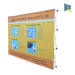 Discount pop up stand banners 10ft Trade Show Fabric Pop up Display Banner Stand Tension Fabric Frame Exhibition Wall Stand with Graphic (without end