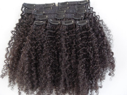 China mongolian human virgin hair extensions with lacing cloth 9 pieces with 18 clips clip in hair kinky curly hair dark brown natural black color cheap kinky curly clip hair extensions suppliers