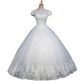 $enCountryForm.capitalKeyWord UK - Short Puff Sleeves Tulle Ball Gown Wedding Dress 2018 Romantic Lace Appliqued Wedding Gowns Custom Made