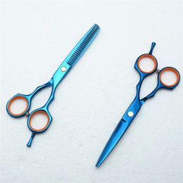 professional cut hair salon 2019 - C1004 5.5'' Customized Brand Blue Hairdressing Scissors Factory Price Cutting Scissors Thinning Shears profess