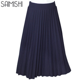 $enCountryForm.capitalKeyWord Australia - Wholesale- Women Skirts High Quality Spring Autumn Summer Style Women High Waist Pleated Length Skirt 2017 Hot Fashion Thick Breathble