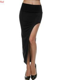 Ladies Skirts Tops Canada - Top Sell 2016 Novelty Skirt Sexy Women Long Skirts Lady Party Club Open Side Split Skirt Maxi Elestic High Waist Irregular Skirt SV003451