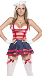 Barato Marinheiro Marinheiro Mulher Vestidos-Mulheres Exóticas Halloween Sailor Cosplay Costume Fantasia Sexy Navy Uniform Performance Hollow Out Leather Catsuit Lingerie Dress