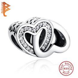 4da637195 BELAWANG 925 Sterling Silver Cubic Zircon Charms Double Heart Shape  Openwork Beads Fit Pandora Charm Bracelets&Bangles Jewelry Making