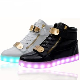 Discount neon shoes for women - 2016 lights up led luminous casual shoes high glowing with charge simulation sole for women & men adults neon basket