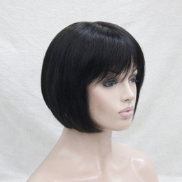 Chinese  2017 New super fashion charming monofilament top off black human hair short straight BOB full wig manufacturers
