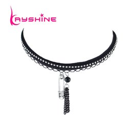 Tissu En Argent Halloween Pas Cher-Kayshine Black Lace Suede Fabric Tattoos Collier Choker Multi Layer Chain Maxi Collier Silver Color Pin Pendentif Collier
