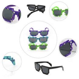 discount trendy glasses frames for men novelty vintage mosaic sunglasses for kids square unisex pixel sunglasses - Discount Photo Frames