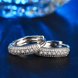 Vintage copper hoop earrings online shopping - Visisap hoop Earrings For Women white gold Color micro pave clear cubic zirconia earring wedding Vintage Fashion jewelry VSE018