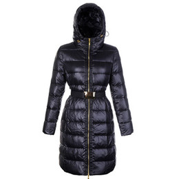ladies down hooded parka Canada - Women Winter Down Long Coat for Ladies Sashes High Quality Fashion Hooded Coats Brand Warm Outwear Nantes Parkas Plus Size XXXXL
