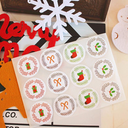$enCountryForm.capitalKeyWord Australia - Cute Christmas round sealing paster cookie box biscuit bag sticker bakery package decoration stickers party gift supply favors