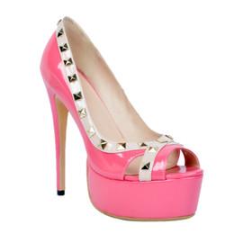 pink shoes studs 2019 - Kolnoo Womens Fashion Handmade 14.5cm High Heel Platform Peep-toe Rivets Studs Pumps Shoes Rosered XD169 discount pink s