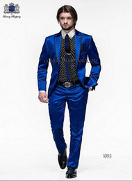 gold champagne tuxedo Australia - Wholesale- 2016 Men Slim Fit Suits Groom Tuxedos Royal Blue Best Men Suit Prom Tuxedos For Men Wedding Suits With Pants Groomsman