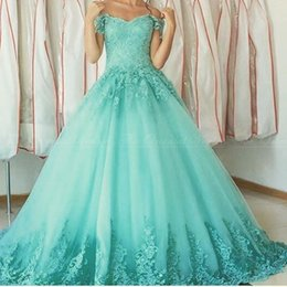 Wholesale Sweet Ball Gowns Aqua Quinceanera Dresses Vestidos de anos Sweetheart Off The Shoulder Lace Appliques Debutante Gown