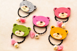$enCountryForm.capitalKeyWord Canada - Wholesale 20pcs lot Cute Felt Solid Bear Girls Elastic Hair Bands Fashion Cartoon Animal Rope Gum Rubber BandBaby Girls HairAccessories