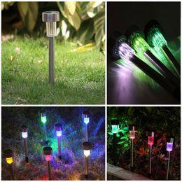 5pcs Lot Stainless Steel Solar Power LED Garden Lights Lawn Lamp For Outdoor  Landscape Yard Park Deck Pathway Portable Lanterns