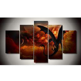 2017Sale реальная картина по номерам No Frame Dragon 5 шт Картина Живопись Wall Art Детская комната Decor Canvas Бесплатная доставка