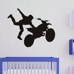 Sticker Motorcycle Design Canada - Diamond level Creative Home Decoration Motorcycle Stunt Driver Wall Stickers Vinyl Stickers Children's Kids Room Interior Decor