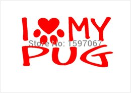 $enCountryForm.capitalKeyWord Canada - Wholesale 20pcs lot Home Decorations Automobile and Motorcycle Vinyl Decal Car Glass window Stickers Jdm I Love My Pug Family Dog