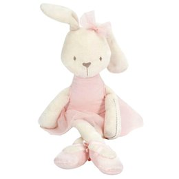 large stuffed animal toys wholesale NZ - Wholesale-Kawaii 42cm Large Soft Stuffed Animal Bunny Rabbit Toy Baby Girl Kid Puppet Baby Soothing Doll Baby Sleeping Plush Toy