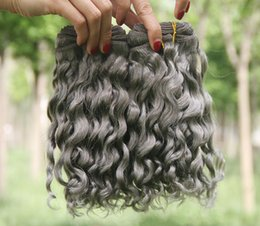 Discount grey hair extensions sale - Hot Sale Silver Grey Human Hair Extensions 3Pcs Lot Pure Color #Gray Deep Curly Peruvian Hair Wefts Brazilian 8A Grey Cu