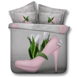 full size butterfly bedding sets Australia - Fashion Design 3D Printed Pink High Heel Shoes Bedding Sets Twin Full Queen King Size Duvet Cover Butterfly Lily White Flower Popular 3 4pcs