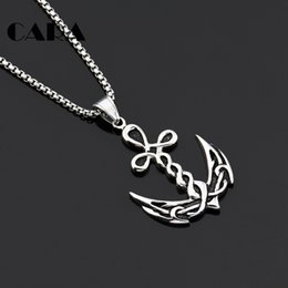 navy pendants NZ - CARA NEW 2 colors Navy accessory Twisted Anchor design charm necklace Well Plated 316L stainless steel chain necklace CAGF0324