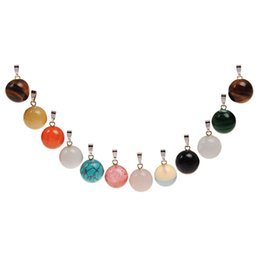 Discount natural stone amulets - Wholesale Jade Stone 14mm Round Shape Muliti Mixed Natural Stone Carnelian Agate Quartz Healing Amulet Beads For Jewelry