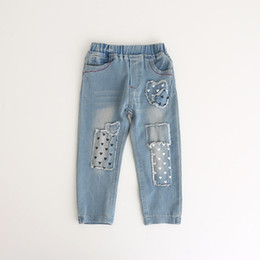 Barato Calça Jeans Casual-2017 Baby Girls Denim Pants Kids Girls Moda Lavar Blue Jeans Bebês Autumn Casual Trouser Childrens clothing