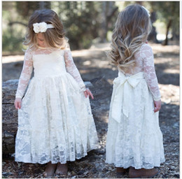 Toddler Flower Girl Dresses Wedding Canada - New Toddler Transparent Sash Floor Length Lace A Line Flower Girl Dresses Long Sleeve Wedding Party Pageant Gowns White Ivory Custom Size