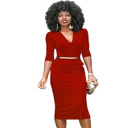 Affaires Féminines Sexy Décontractées Pas Cher-Robes décontractées pour femmes Retro sexy One-Piece Wear To Work Office Business Sheath Dress Livraison gratuite