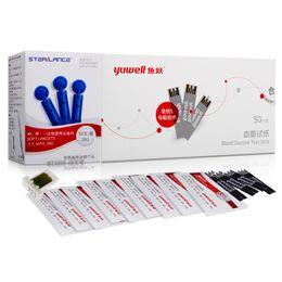 50 unids yuwell tiras reactivas para diabéticos tiras reactivas para glucómetro de sangre tiras reactivas glucómetro para glucómetro adecuado para 510520710720730
