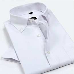 Robes Courtes Et Minces Pas Cher-Vente en gros- Hot Summer Oxford Men Dress Shirts 2016 New Non Iron Luxury Slim Fit Short Sleeve Brand Formal Business Fashion Solid Shirts 4XL