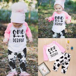 $enCountryForm.capitalKeyWord Canada - Mikrdoo 2PCS Baby Sets Newborn Toddler Kids Girls One Derful Print Long Sleeve T Shirt Tops Black Floral Pants Outfit Autumn Casual Clothing