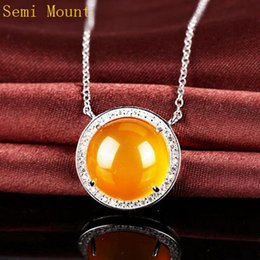Round Agate Cabochon Australia - Crystal 925 Sterling Silver Pendant Necklace 15X15MM Round Cabochon OPal Agate Amber Semi mount Pendant Jewelry Setting Fit Pandora Style