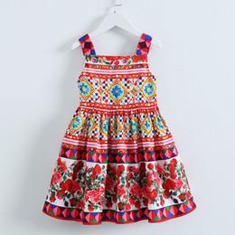 f9e5c43d92b47 2017 New Girls Vestido Party Sleeveless Dress Baby Princess Skirt Kids  Printing Rose Pattern Clothes Free Shipping WX-D22