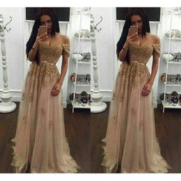 Wholesale Champagne Beaded China Prom Dresses Modest Off The Shoulder Special Occasion Party Dress A Line Tulle Formal Evening Gowns