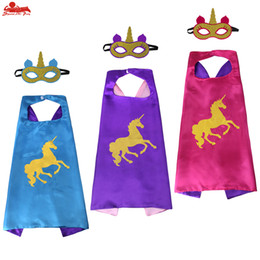 Chinese  FREE DHL 3 PCS Unicorm capes and masks costume for decorative Halloween party cosplay girl gifts fancy costumes birthday themed cloak manufacturers