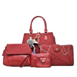 luxury clutch handbags 2019 - Luxury PU Leather Handbag 6 Pcs Composite Bags Set Female Shoulder Crossbody Messenger Women Bag Purse Clutch Wallet che