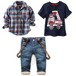 Tee-shirt De Combat Pour Enfants Pas Cher-3PCS Baby Boys Shirt Tops + T-Shirt + Suspender Jeans Set Kids Clothes Outfits