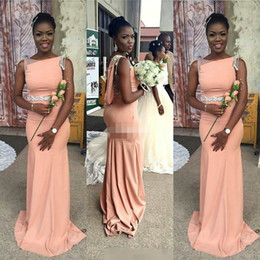chocolate peaches Australia - African 2017 Peach Satin Mermaid Bridesmaid Dresses Long Modest Bateau Black Sash Maid Of Honor Gowns Custom Made China EN71110