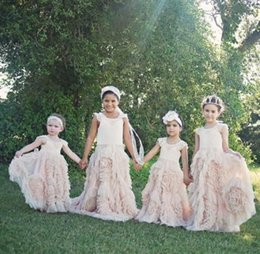 Robes Faites Sur Mesure En Première Communion Pas Cher-Pink Ruffled Flower Girls Robes Jewel sans manches Custom Made First Communion Robe Longueur au sol Longueur Robes
