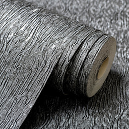 Discount silver sounds - Wholesale- Modern Plain Solid Abstract Strpes Metallic Texture Vinyl Wallpaper For Walls in Roll Silver Grey   Beige Wal