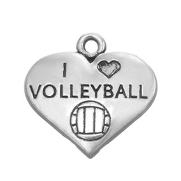 Volleyball Jewelry Wholesale Canada - Heart Volleyball Sport Heart Jewelry Antique Silver Plated Zinc Alloy Metal Fashion Hot Sell Charm DIY Necklaces&Bracelets