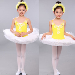 Barato Leotard De Ballet Amarelo-Yellow Girls Sequined Leotard Dancewear Ballet Tutu vestido Ginástica Dance Dress Kids Performance Party Costume Outfits Stage wear dance