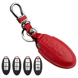 Discount nissan x trail accessories - Leather Key fob cover Case for Nissan Almera X-Trail Qashqai Murano Maxima Rogue key holder bag for Infiniti car key cha