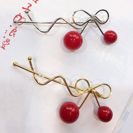 girl hair accessories cherry 2019 - 2Pcs Girls Sweet Cute Red Cherry Shaped Bowknot Hairpin For Hair Clip Hairpin Barrette Hair Accessories for Women Hairgr