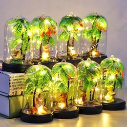 Wholesale Night Light Fixtures NZ - New Micro Landscape Plant Night Light DIY Animal Light Warm White Lighting Home Fixtures Table Lamp ZJ0514