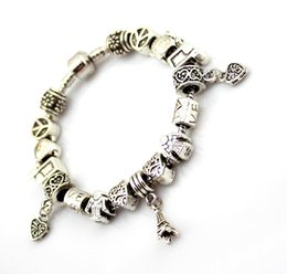 $enCountryForm.capitalKeyWord NZ - European Peace and Love beads Vintage Snake Chain Bracelet Mens with Tibetan Silver Heart and Tower Charms