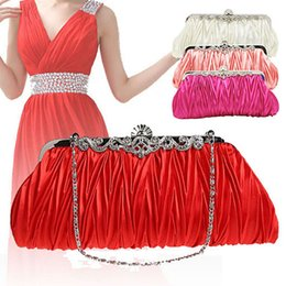 online shopping Women s Cocktail Wedding Evening Party Satin Ruffle Handbag Single Shoulder Bag